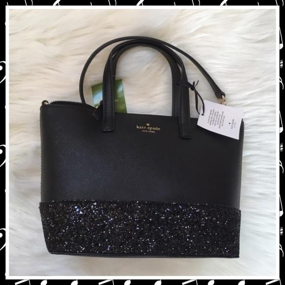 2872dab5386 Kate Spade Greta Court Ina Black Glitter Bag NWT NWT